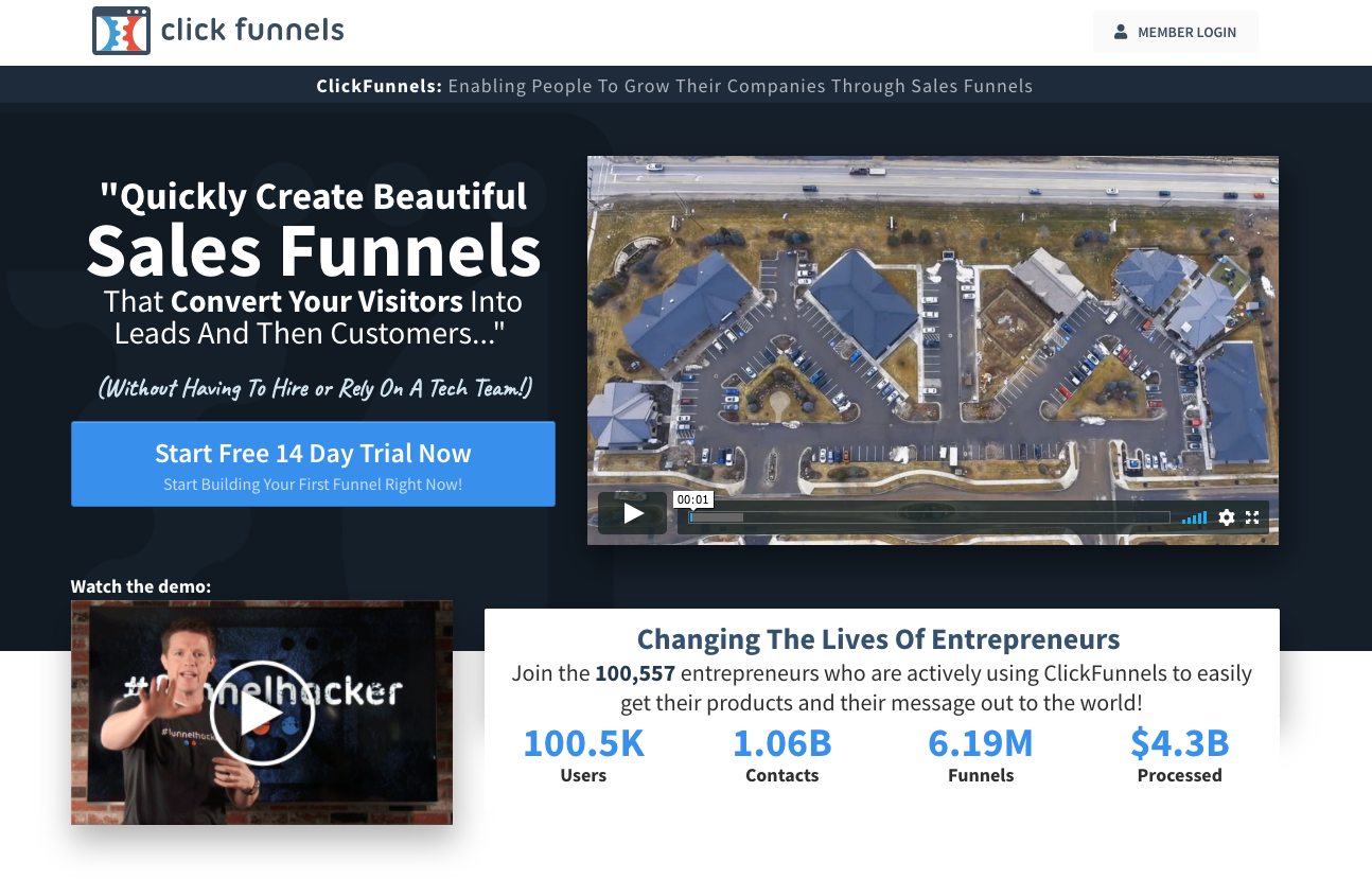 Click Funnels Home Page